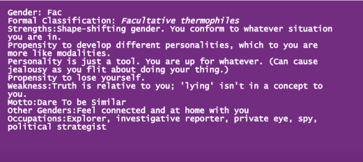 A screenshot of the Genderator, a digital gender assignment tool created by Mark Marino.
