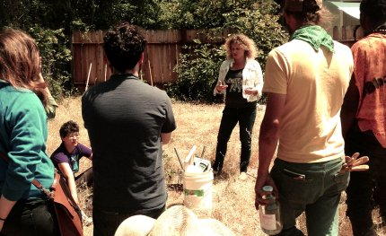 A biodynamic soil-building workshop at an occupied farm in Temescal, 2015. (photo by Alison Moeller)