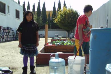 Kids gardening at a squatted library in East Oakland, 2011. (photo by Samara Hayley Steele)