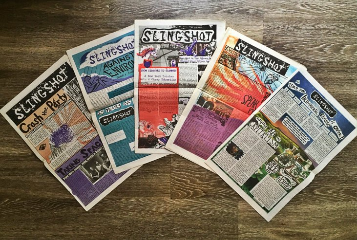 Front pages of various issues of Slingshot from 2011-2018.