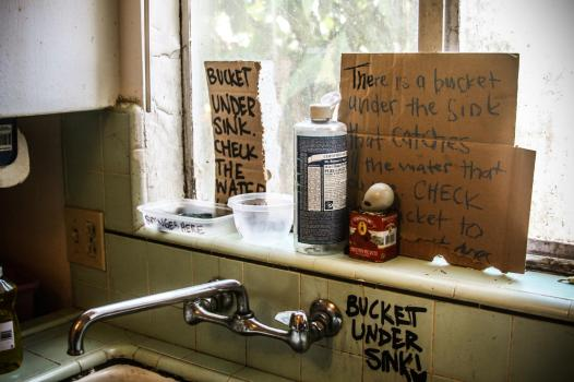 "The kitchen of an ""off the grid"" squatted residence in Oakland, 2012. (Photo by Brooke Porter)"